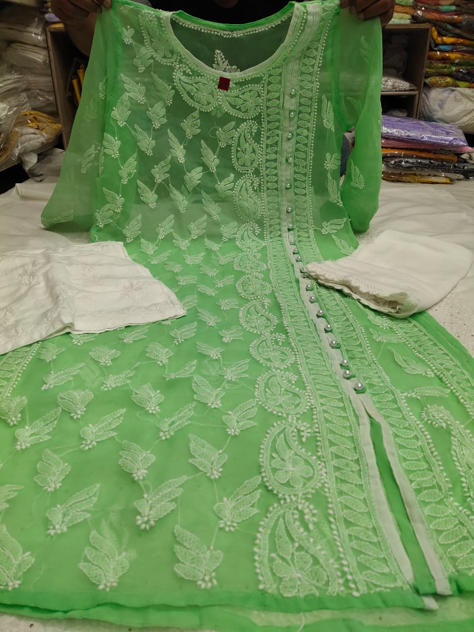 Green Embroidered Angrakha Style Kurtis Online Shopping With Price