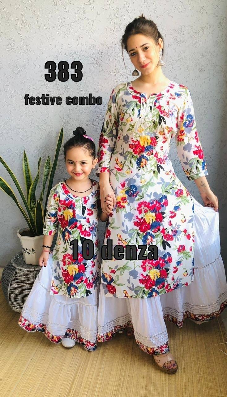 White Modal Floral Print Mother And Daughter Kurti Dresses Online