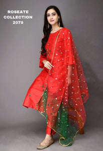 Scarlet Red Silk Hand Embroidery Latest Kurti Pant Suits With Dupatta
