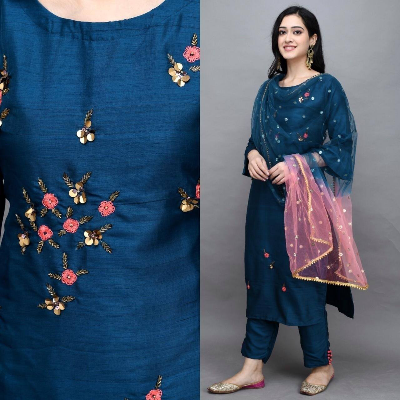 Teal Blue Silk Hand Embroidery Latest Kurti Suit Online Shopping