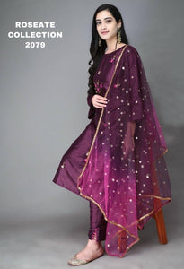 Wine Color Silk Hand Embroidery Latest Kurti Suit Designs Online