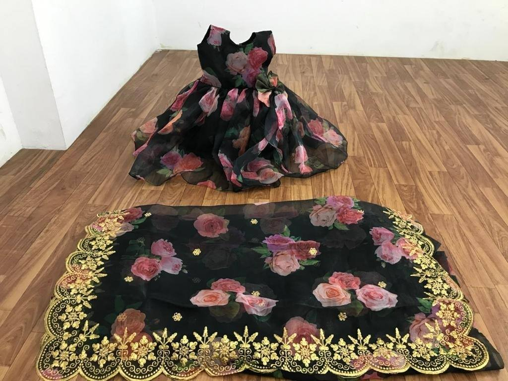 Beautiful Black Floral Organza Saree blouse set with Matching Kids gowns