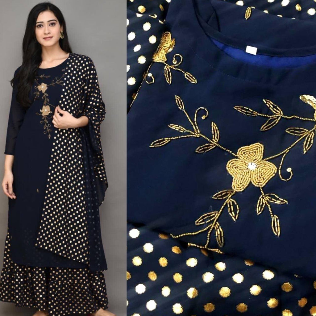 Latest Navy Blue Georgette Embroidered Kurti Gold Print Fabric Sharara