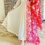 Classy Beautiful Kalidar Kota Doriya Gown with Elegant Pink Dupatta