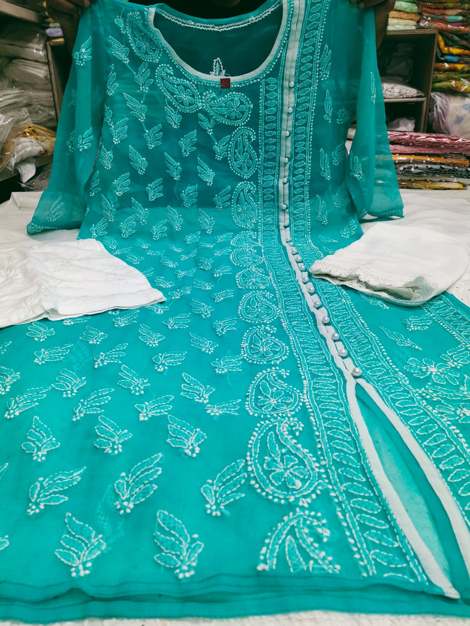 Sea Green Embroidered With Pearl Work Angrakha Kurtis India Online