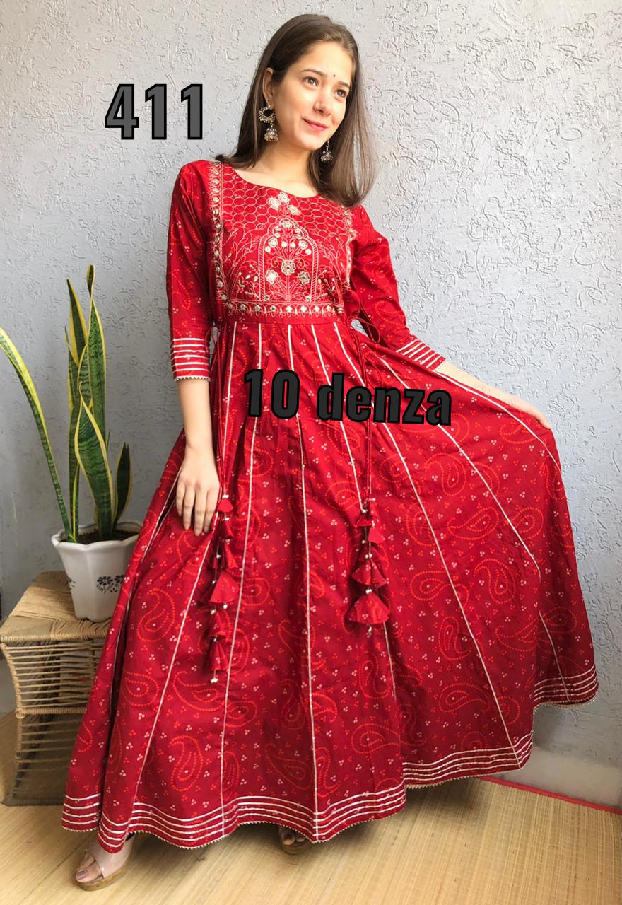 Embroidered Red Cotton Long Flared Gown Kurtis  Online Purchase