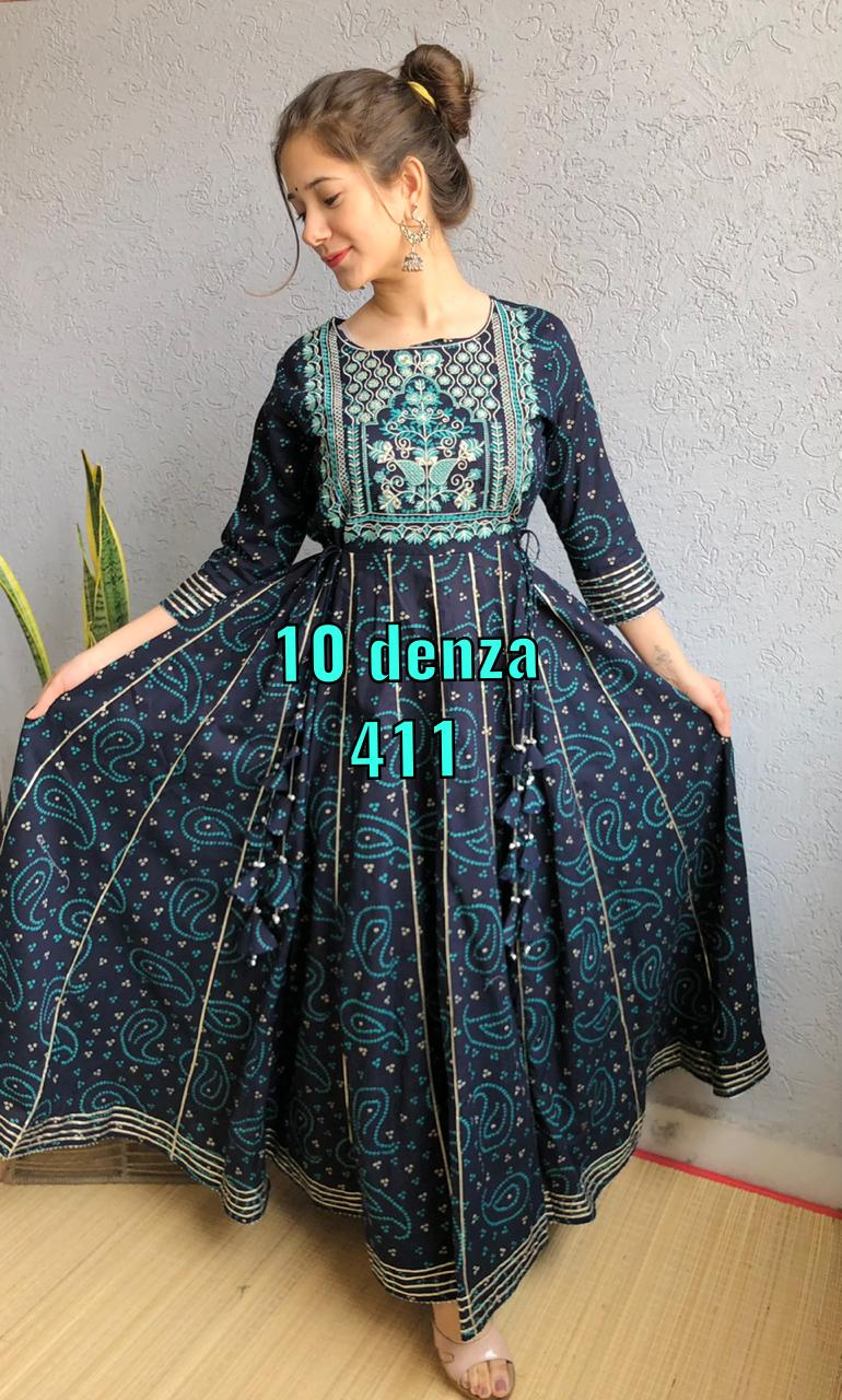 Navy Blue Cotton Long Flared Gown Embroidered Kurtis Online
