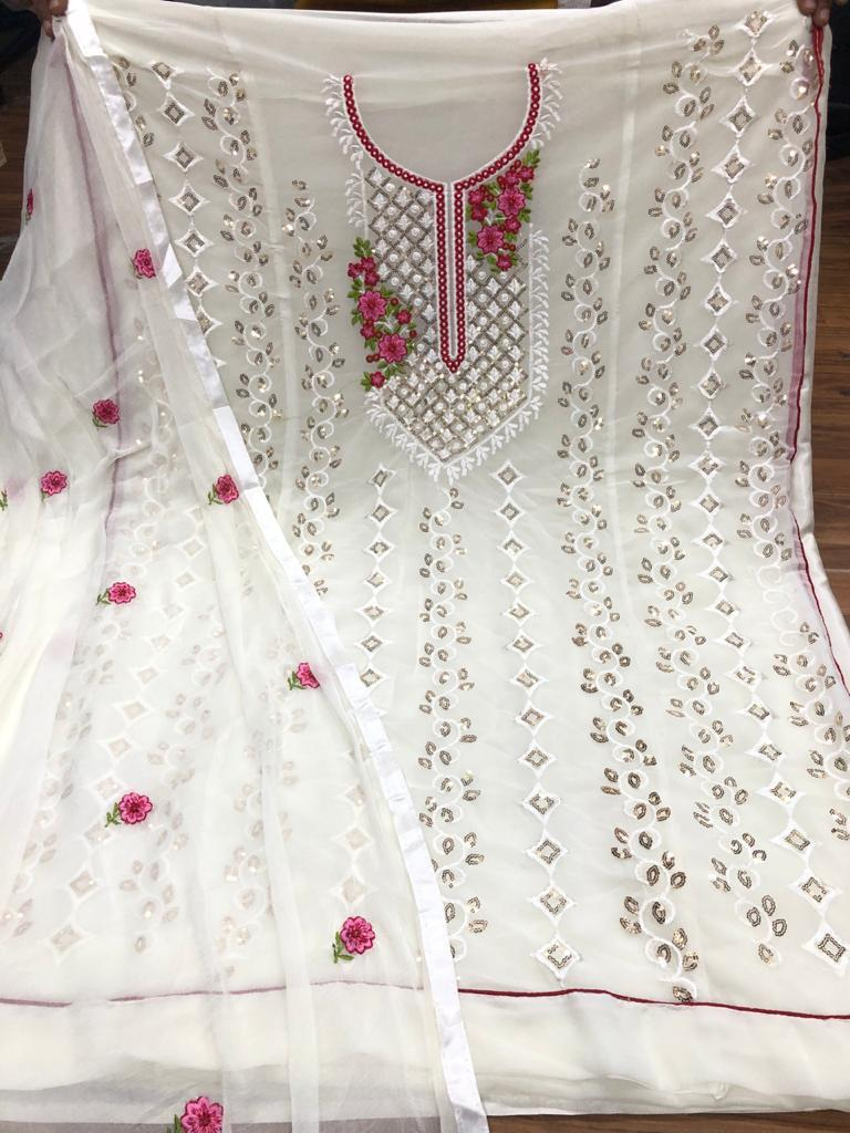 Maroon Embroidered Georgette Salwar Kameez Clothes Online