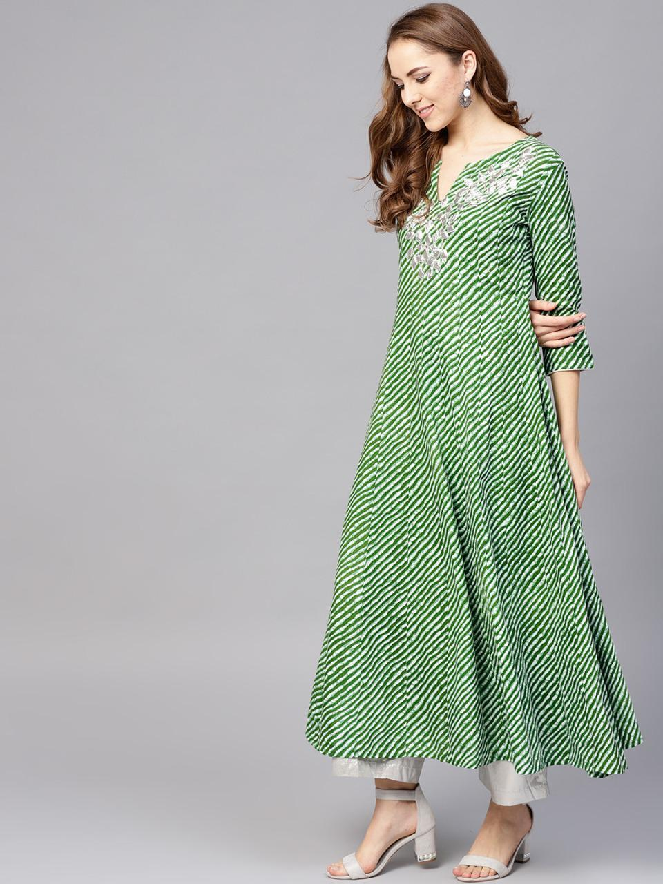 Green And White Leheriya Print Anarkali Kurta Dress Online