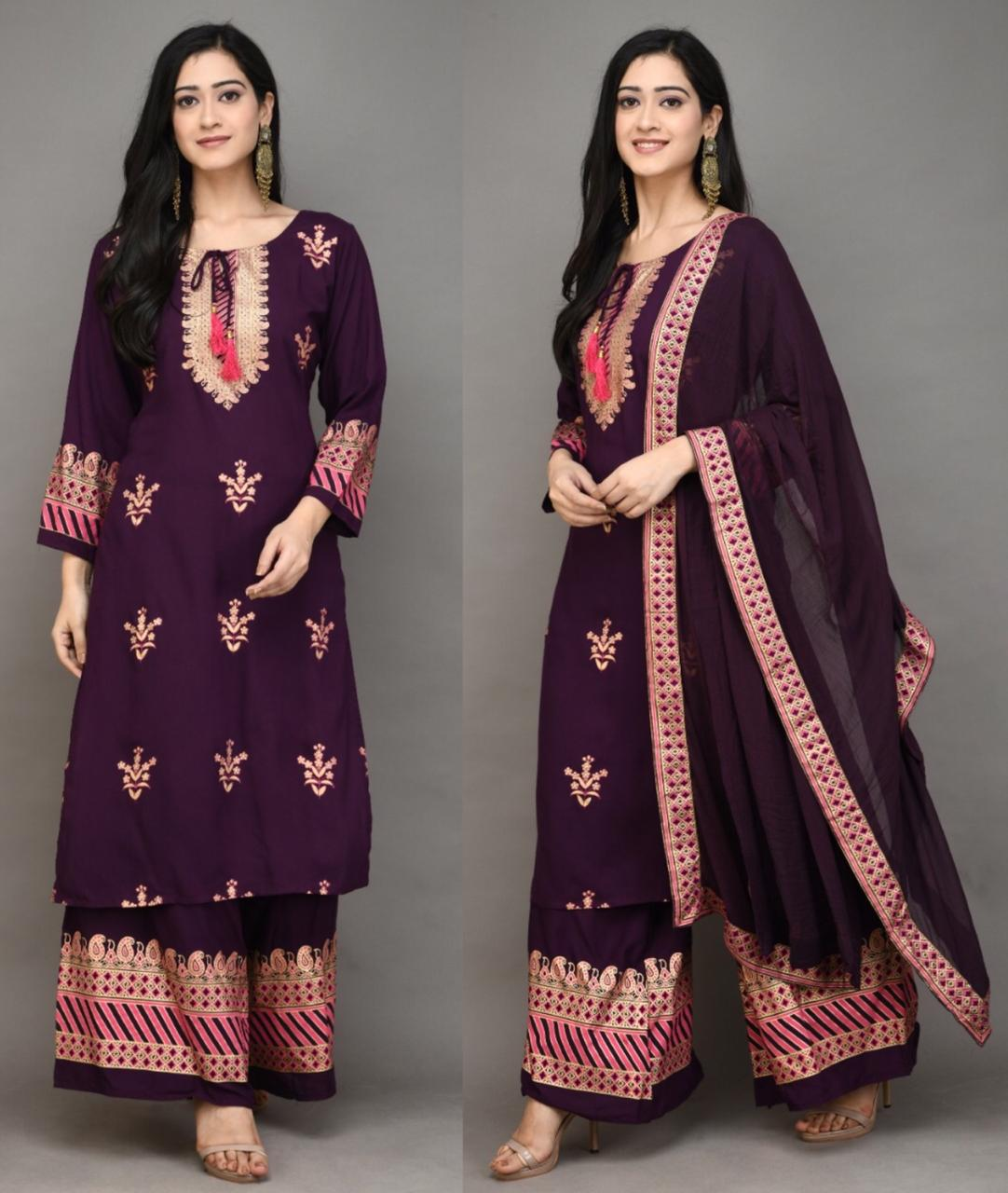 Purple kurti and Sharara with print and Tassles  Chiffon Dupatta