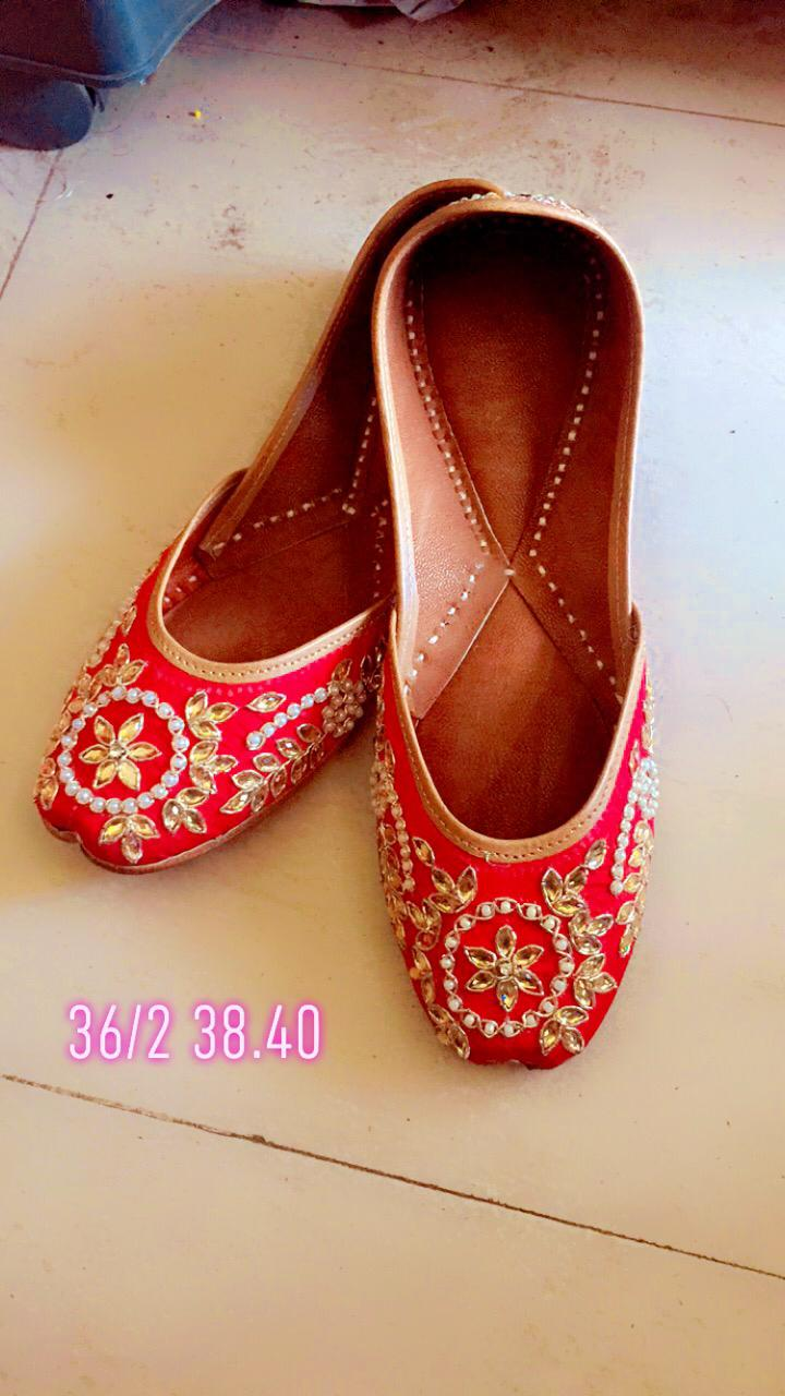Red Embroidered Punjabi Juttis For Women Online