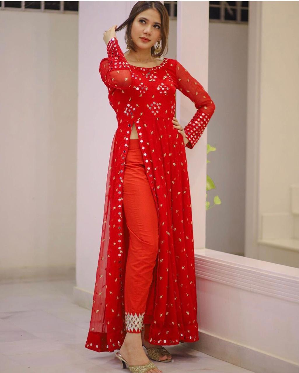 Red Georgette Embroidered Side Slit Latest Salwar Suits Online
