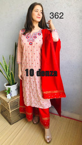 Light Peach Cotton Embroidered Kurti Palazzo Suits Online Shop India