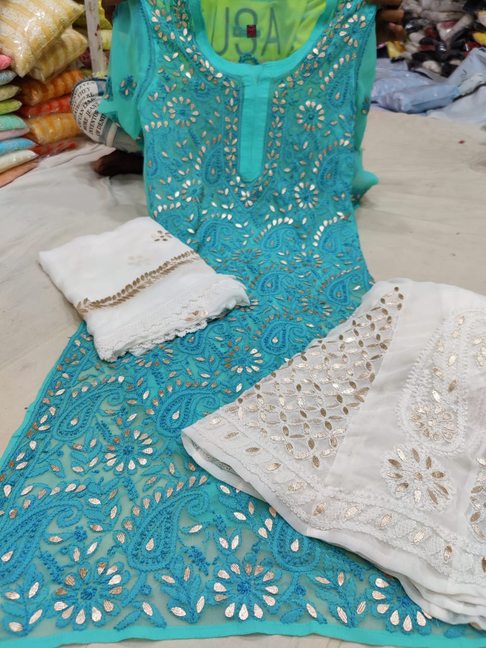 Light Teal Georgette Gota Patti Kurti Palazzo Suit For Latest Foo