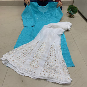 Light Blue and White Sequin Chikankari Kurti Sharara Salwar Kameez