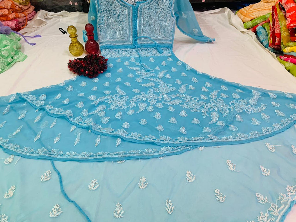 Blue Embroidered Dual Layer Gown Style Indian Dress Online