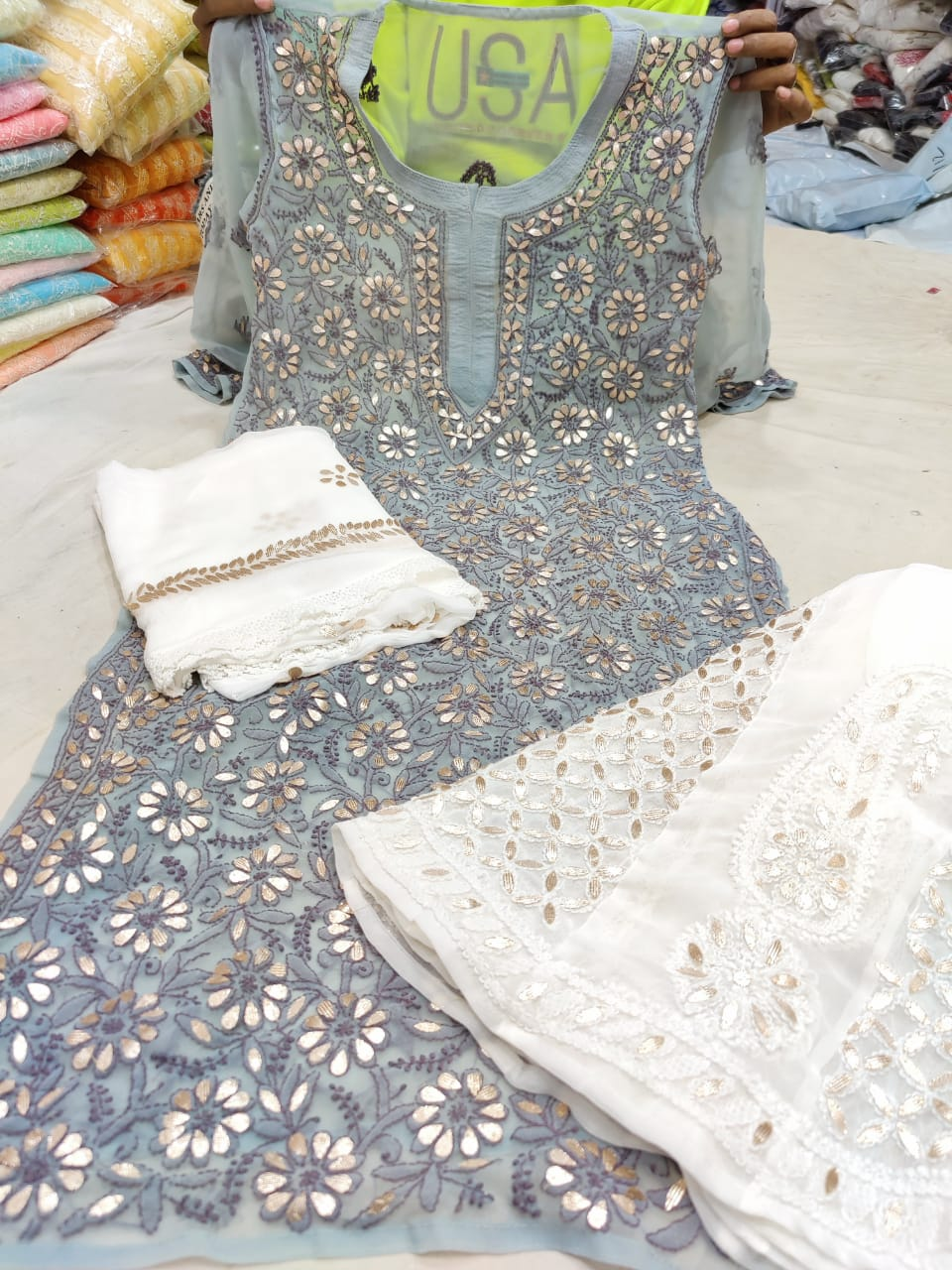 Light Grey Georgette Gota Patti Kurti Palazzo Indian Ladies Suits Online