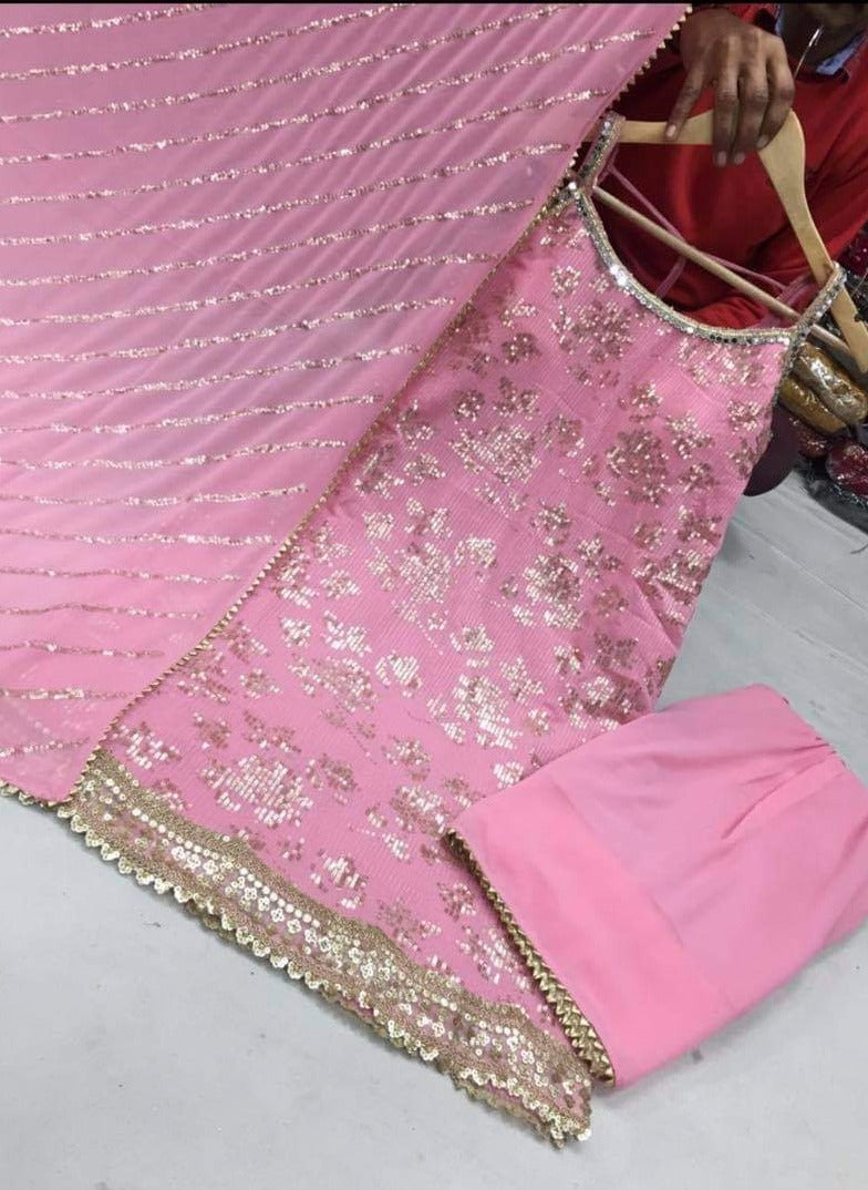 Pink Georgette Sequins Embroidery Punjabi Suit with Pant and Dupatta