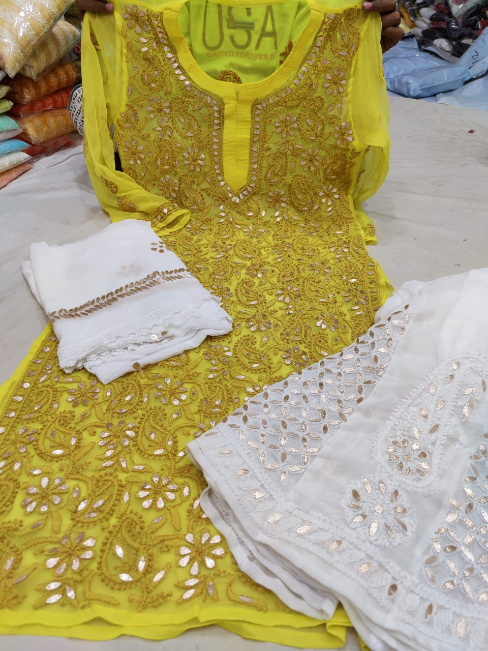 Yellow Georgette Gota Patti Kurti Palazzo Salwar Suits Online Purchase