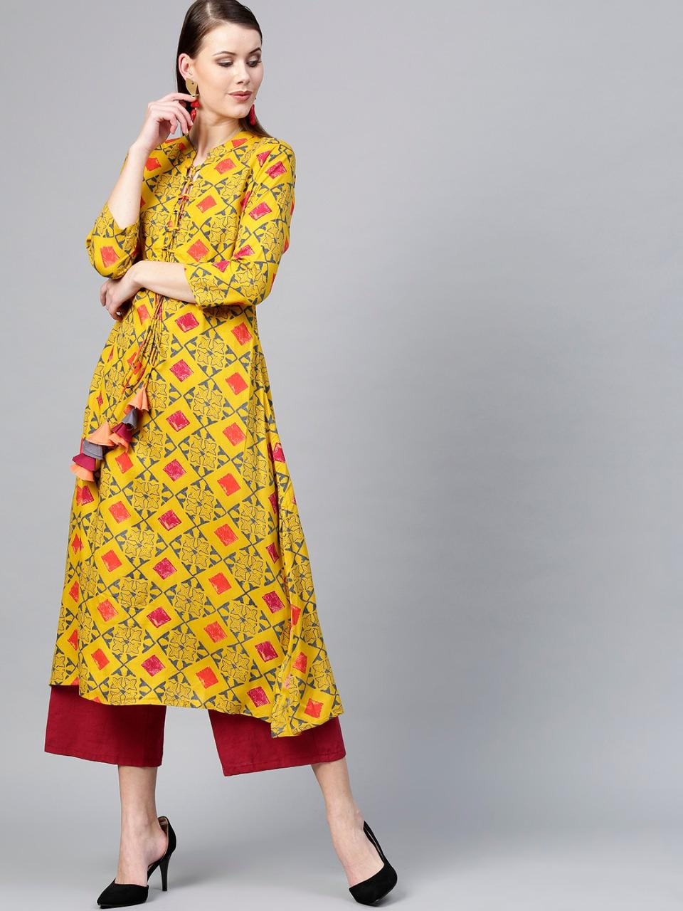 Mustard Yellow Printed A-line Kurta Palazzo With Tassels