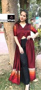 Maroon Chiffon Front Slit Latest Kurti Pant Suits India Online