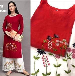 Red Rayon Embroidered Kurti Palazzo Suits Online Shopping