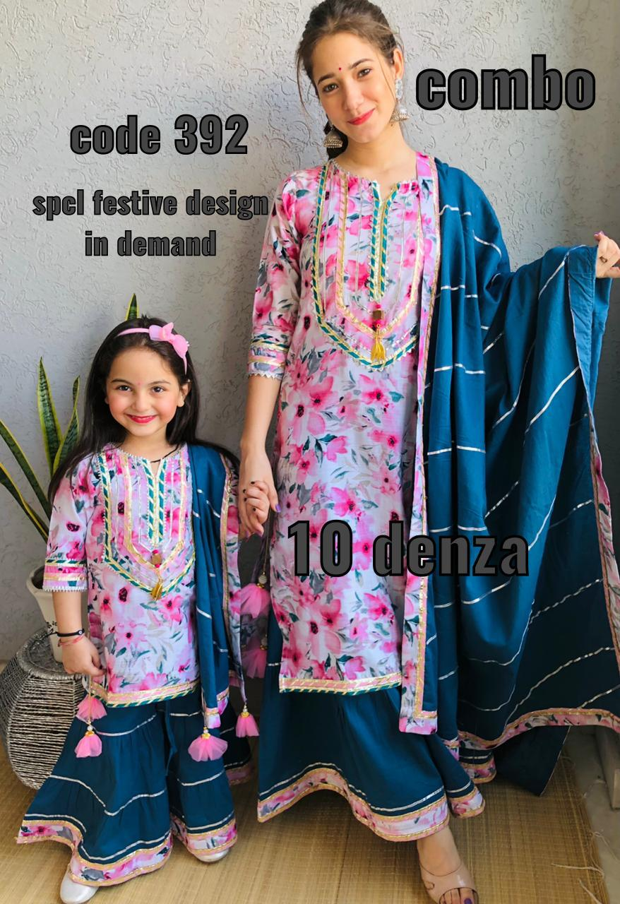 Pure Cotton Floral Print Mother and Daughter Kurti Sets Online