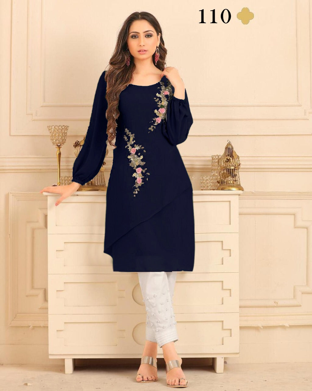 Dark Blue Georgette Embroidered Latest Indian Kurti Pant Suits Online