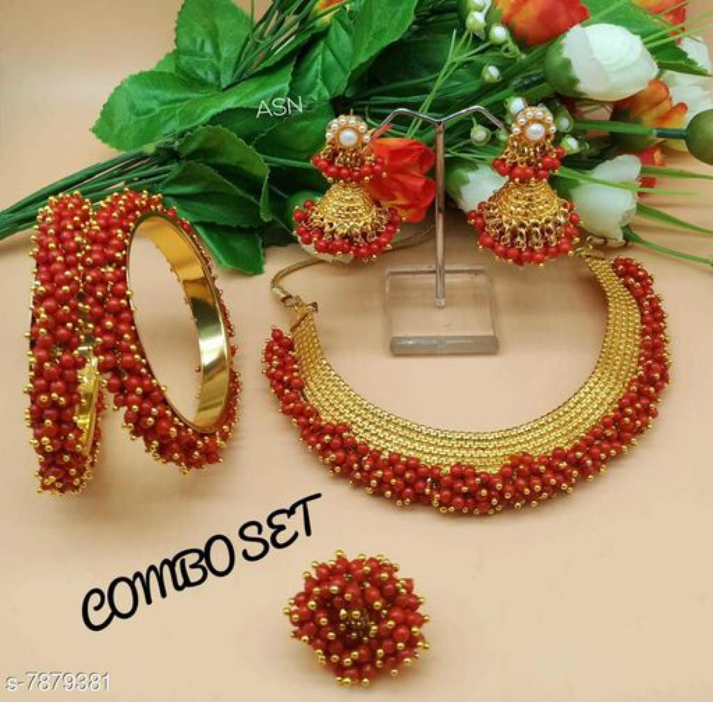 Red Choker Style Traditional Design Jewellery Sets Online Buy