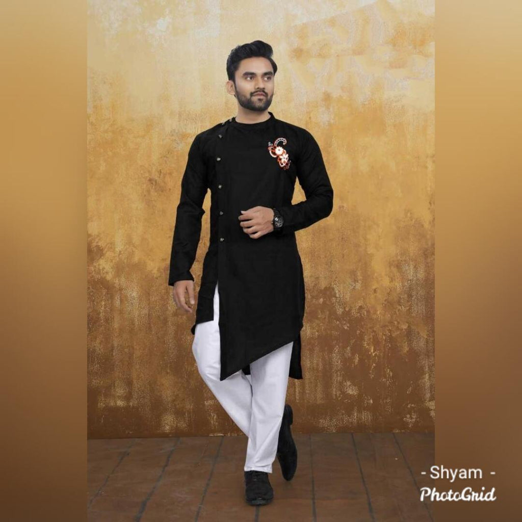Black Cotton Side Button-Down Asymmetrical Men's Kurta Online