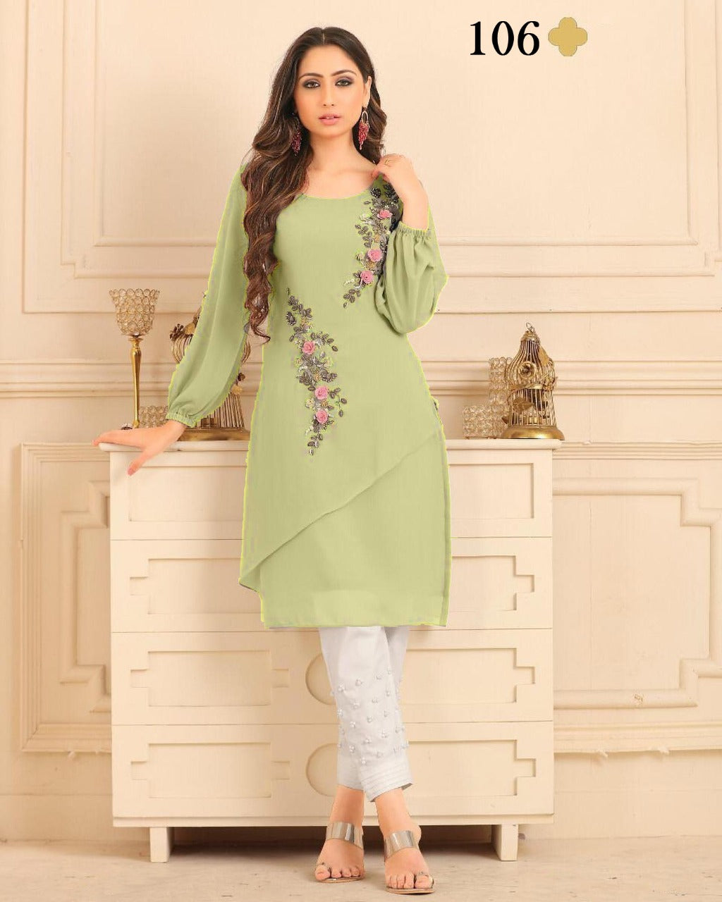 Pistachio Green Georgette Embroidered Ladies Kurti Pant Suit Designs