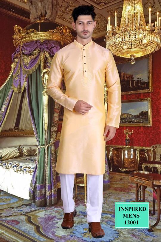 Beige Jacquard Straight Cut Men's Kurta Set