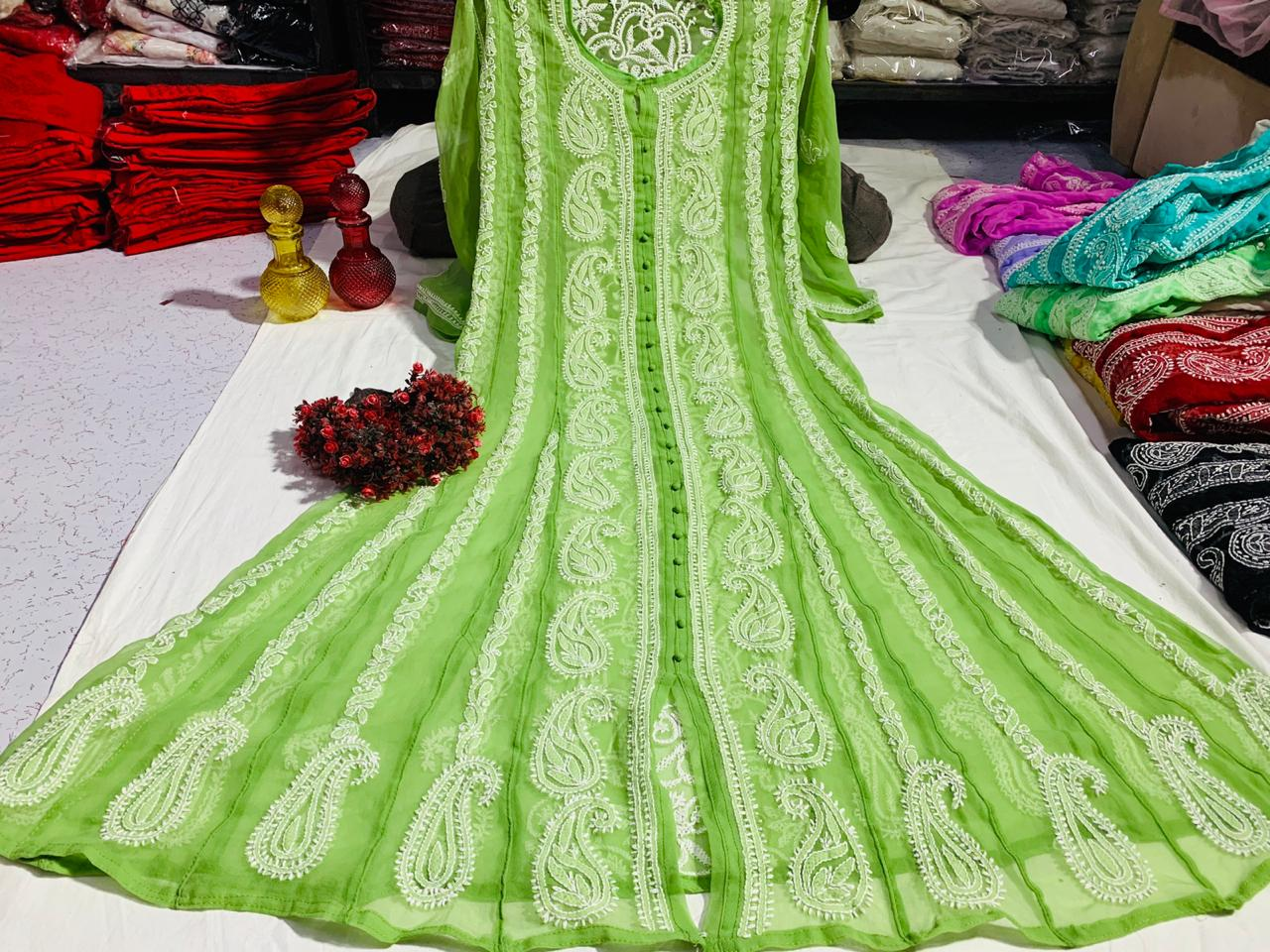 Green Chiffon Lucknawi Chikankari Kurtis Anarkali Style Dress