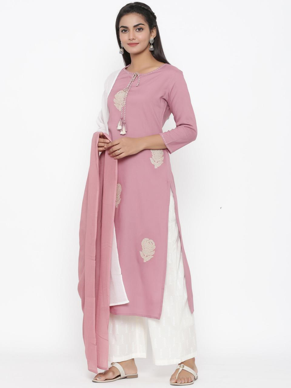 Misty Rose Pink Embroidered Kurta With Pant And Dupatta Online