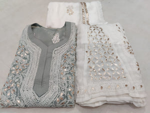 Grey Georgette Lucknowi Chikankari Kurti Sharara Online Shopping