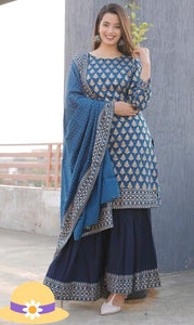 Blue Georgette Print Latest Indian Sharara Sets Salwar Kurta Dress