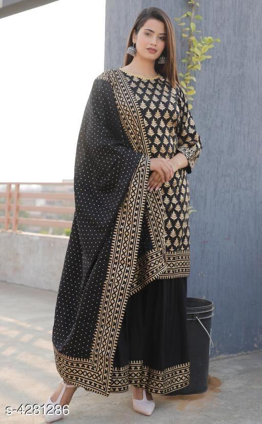 Black Georgette Print Latest Kurti Sharara Salwar Kurta Dress
