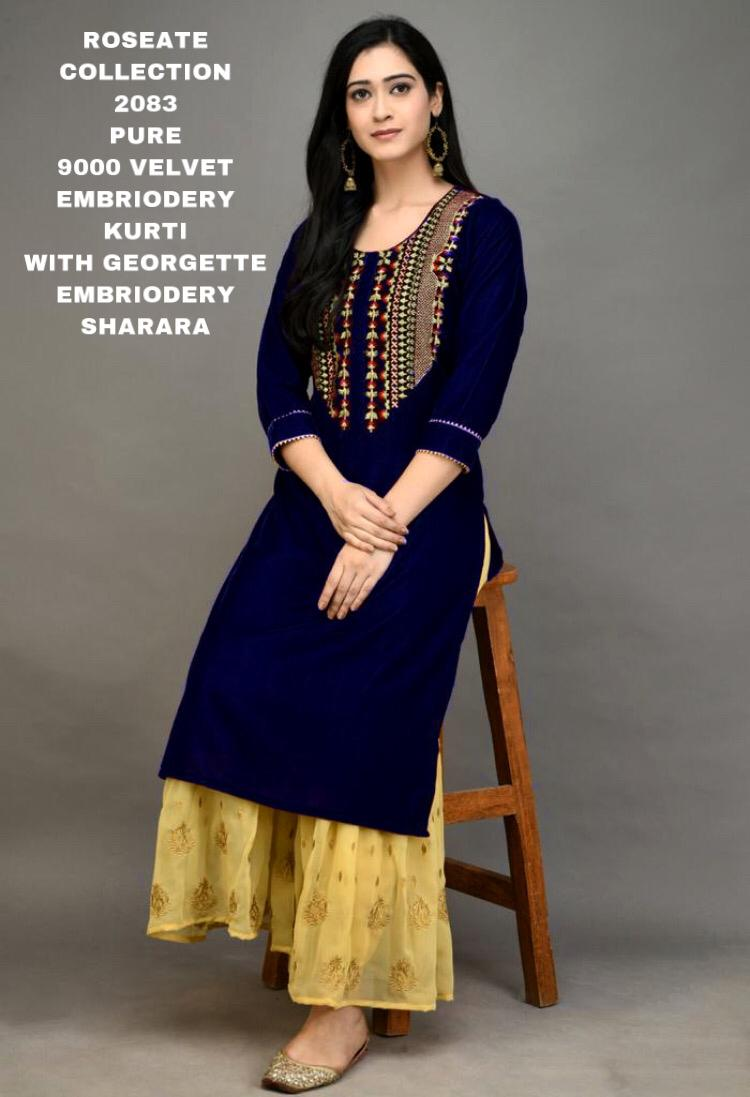 Navy Blue Velvet Embroidered Kurti Sharara Latest Designs