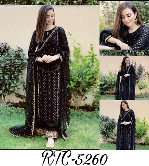 Black Georgette Embroidered Kurtis Palazzo Salwar Suits Online