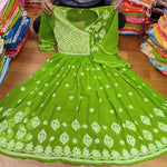 Green fancy Georgette gown