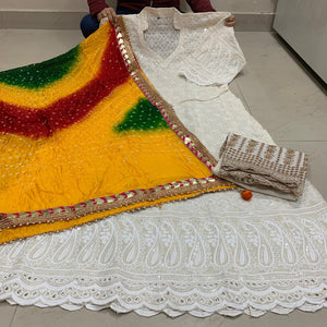 Off White Cotton Anarkali Palazzo With Yellow Bandhani Dupatta