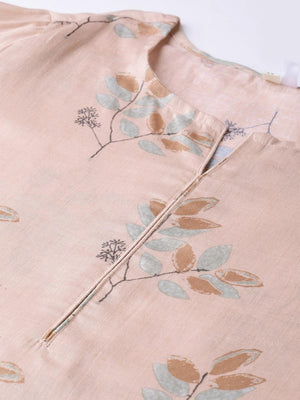 Light Dusty Pink Cotton Jaipuri Kurta Palazzo Dupatta Set