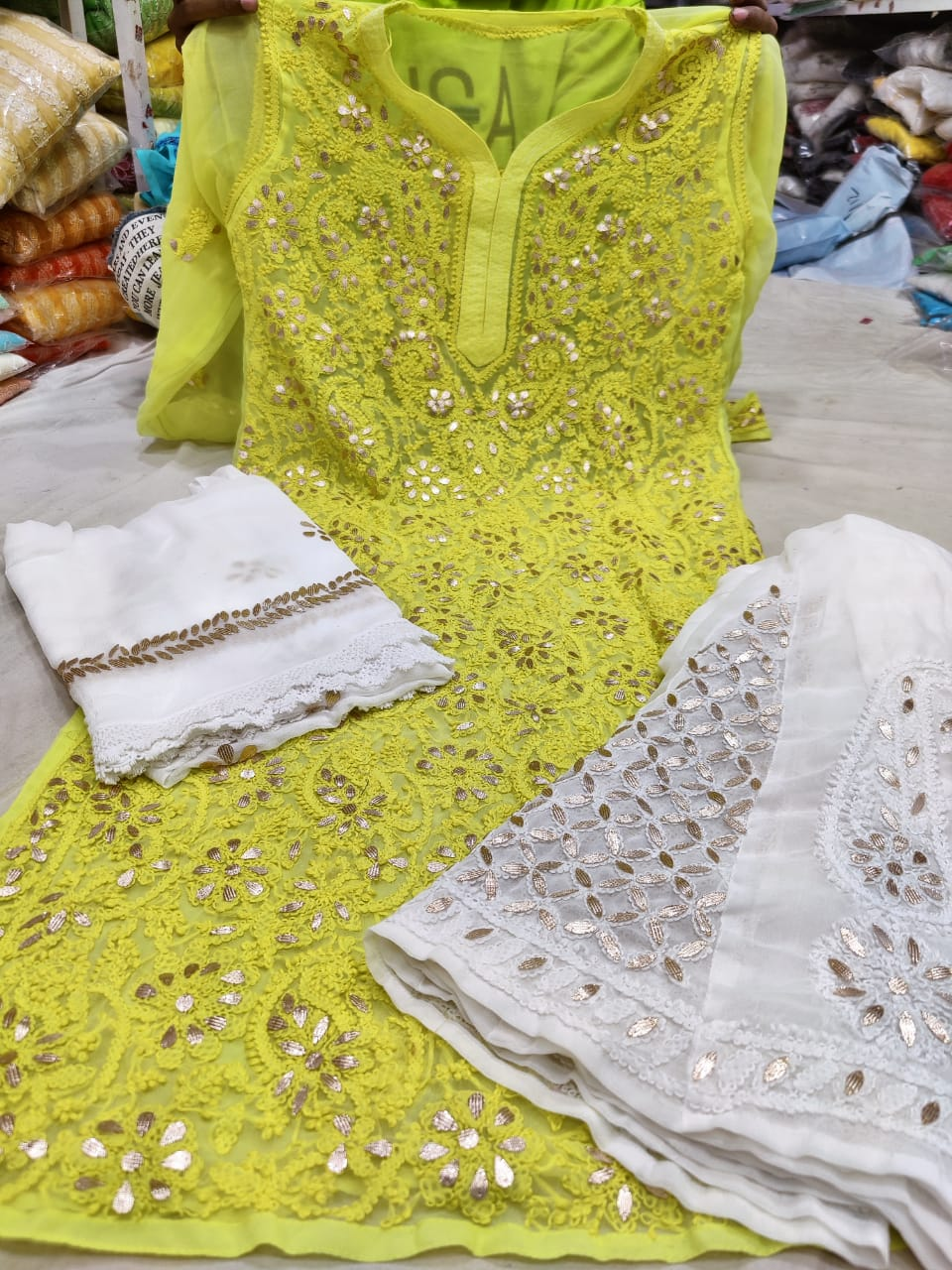 Yellow Georgette Gota Patti Kurti Palazzo Salwar Suit Online India
