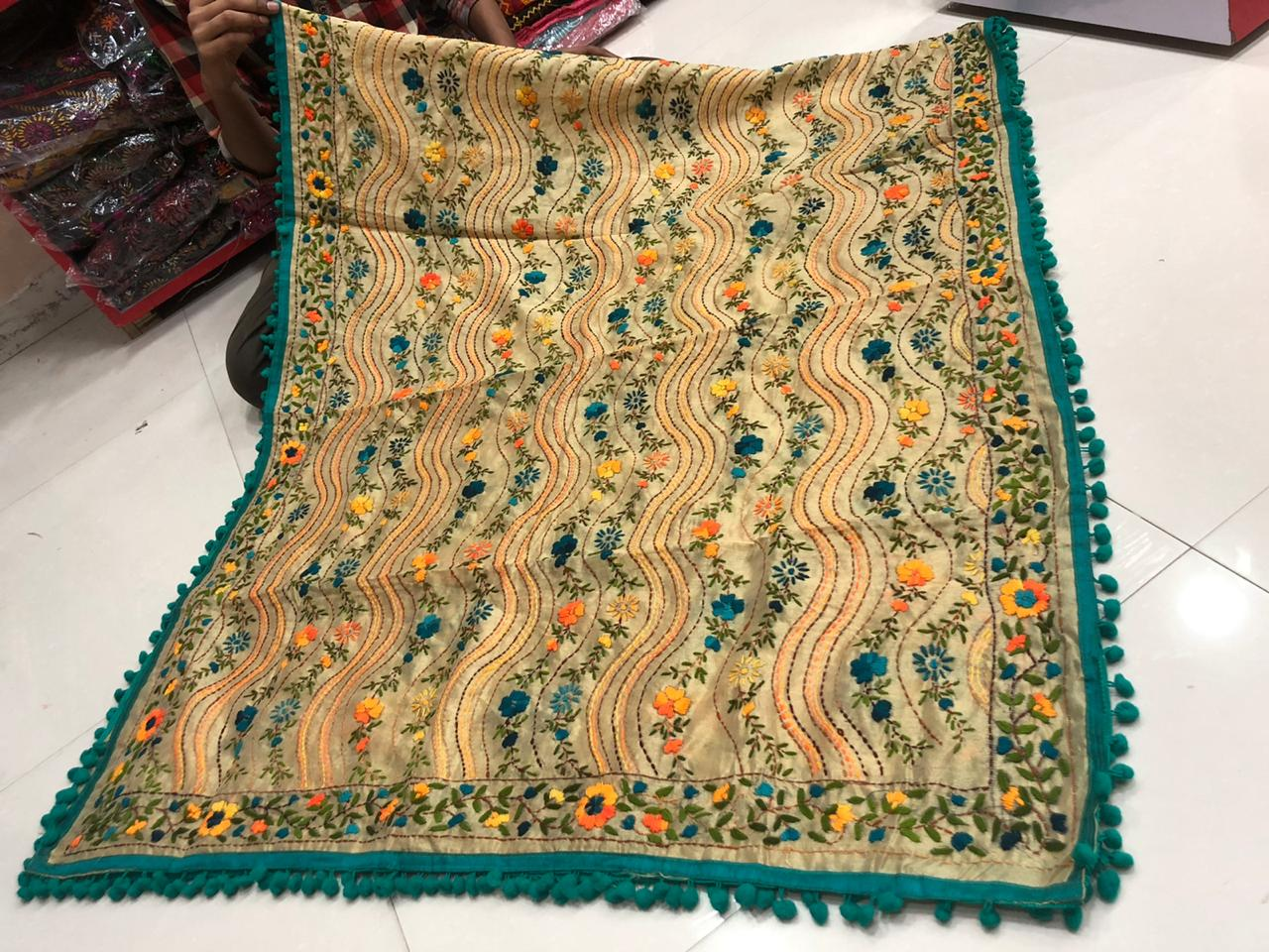 Beautiful Hand Work with Pom Pom Lace Dupatta