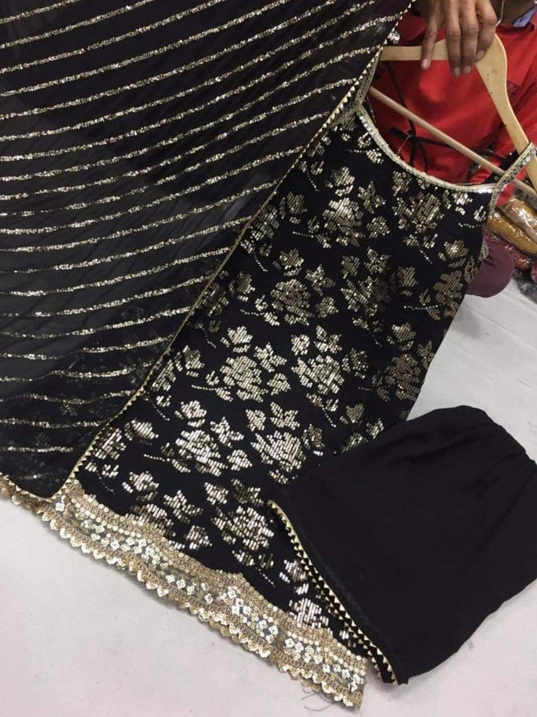 Pure Black Georgette Sequins Embroidery Punjabi Suit with Pant and Dupatta