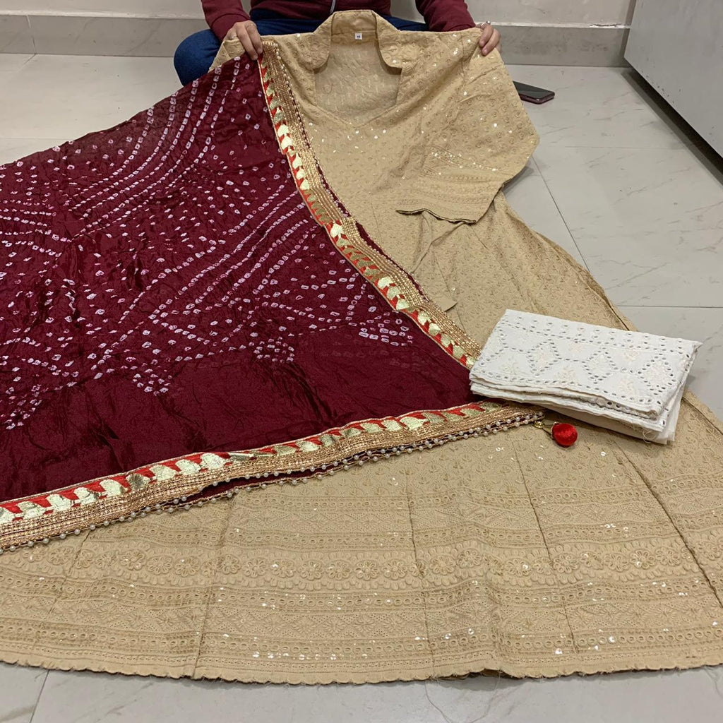 Beige Cotton Anarkali Palazzo With Maroon Silk Bandhani Dupatta