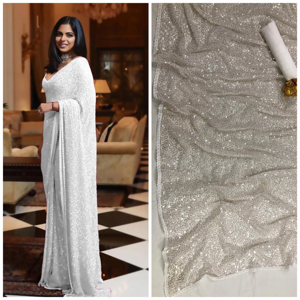 White Bollywood Sequins Saree in Georgette with Plain Silk Blouse