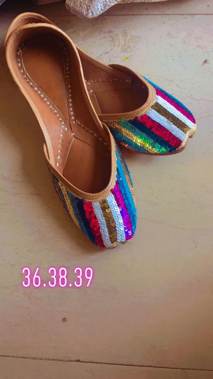Multi Color Handcrafted Leather Juttis with Sequins