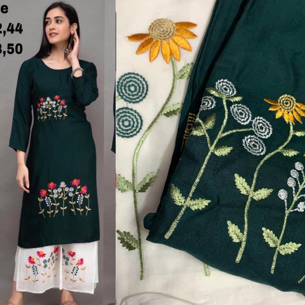 Dark Green Embroidered Kurti Palazzo Salwar Kameez Indian Suits