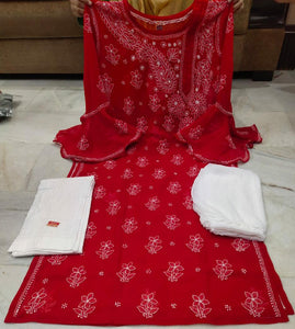 Red Embroidered Chikan Bell Sleeve Kurti Ladies Indian Suits Online